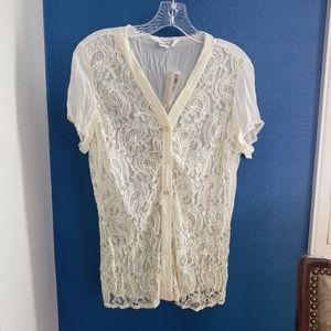 Claudia Richard Lace Crinkle Blouse